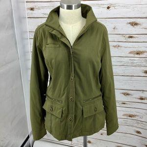 Prana jacket olive utility style stretch zip large